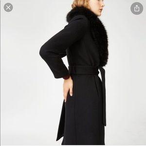 NWT! Club Monaco Belted Wool Coat w/ Fur Collar !